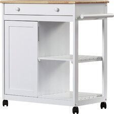 Allie Kitchen Cart with Wooden Top