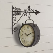 Metal Outdoor Double Clock Decor