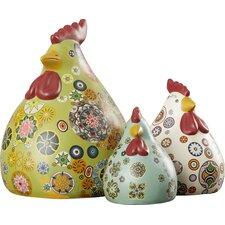 3 Piece Chickens Figurine Set