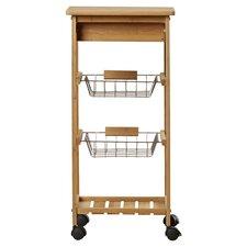 Girard Kitchen Cart with Bamboo Top