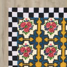 Parker Floral Checkered Black Area Rug