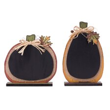 2 Piece Burlap/Wooden Pumpkin Chalkboard Decor Set