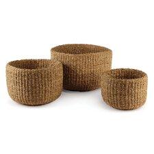 Seagrass Woven Round 3 Piece Basket Set