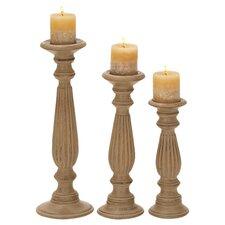 Drucilla 3 Piece Wood Candlestick Set
