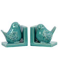 Lucille Ceramic Bird Book Ends (Set of 2)
