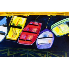 Painted Boats Painting Print on Canvas