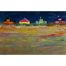 Painted Beach with Beach Houses Painting Print on Canvas