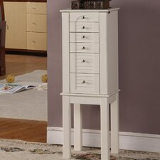 Shady Hills Jewelry Armoire with Mirror in White