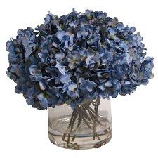 Blue Hydrangea in Acrylic Water Vase