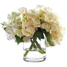 White Hydrangea in Glass Vase