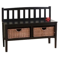Offerman Wood Storage Entryway Bench with Rattan Baskets