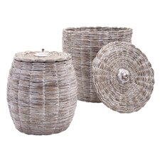 2 Piece Lidded Baskets Set
