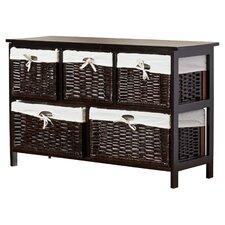 Ana Chase Five Wicker Basket Storage Unit in Espresso