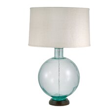 """Hudson Recycled Glass Orb 31"""" Table Lamp with Drum Shade"""