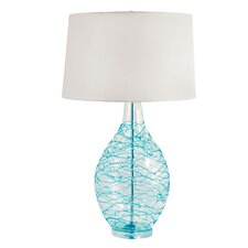 "Glass Hand Blown 31"" H Table Lamp with Drum Shade"