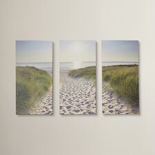 Beach Walk 3 Piece Photographic Print on Wrapped Canvas Set