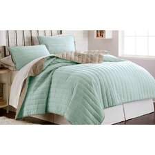 Haywood 3 Piece Solid Reversible Coverlet Set