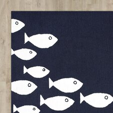 Roeville Hand-Woven Navy Outdoor Area Rug
