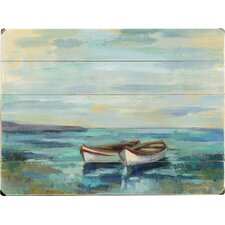 Boats at the Beach Painting Print on Plaque
