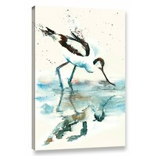 Avocet Reflection Painting Print on Wrapped Canvas