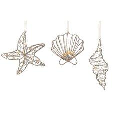 3 Piece Pearl Beaded Coastal Wire Ornament Set