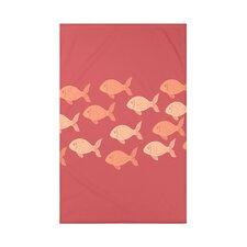 Golden Lakes Fish Line Coastal Fleece Throw Blanket