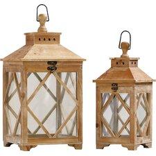 Evansville 2 Piece Wood / Glass Lantern Set