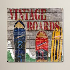 Vintage Snowboards Painting Print on Plaque