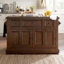 McAlester Kitchen Island with Granite Top
