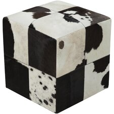 Mars Hill Leather Cube Pouf Ottoman