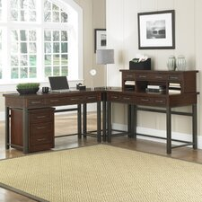 Rockvale Computer Desk with Keyboard Tray and Hutch