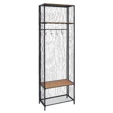 Grid Metal/Wood Locker Coat Rack