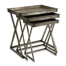 3 Piece Leaf Tray Table Set