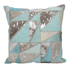 Agate Triangles Leather Throw Pillow