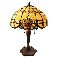 """Hermosa Beach Stained Glass 25"""" H Table Lamp with Bowl Shade"""