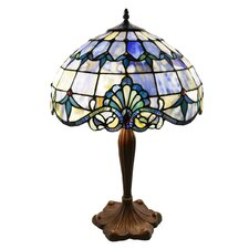 """Hermosa Beach Stained Glass 24"""" H Table Lamp with Bowl Shade"""