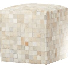 Red Bluff Leather Pouf Ottoman