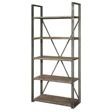 Creusot Aged Metal and Rustic Wood Etagere Bookcase