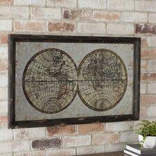 Wood Metal Framed Map Wall Décor