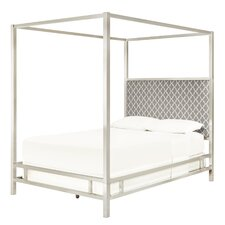 Chattel Panel Bed with Gray Upholstered Headboard