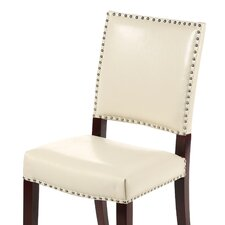 Evelette Bicast Leather Side Chairs in Cream (Set of 2)