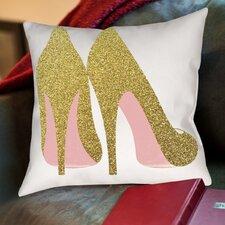 Peach & Gold Shoes Throw Pillow