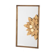 Rectangle Metal Mirror with 3D Flower Detail