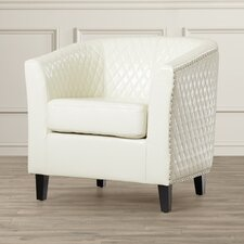 Congleton Bonded Leather Quilted Barrel Chair