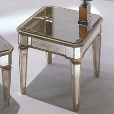 Sandbach Mirrored Rectangle End Table in Antique Silver