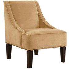 Velvet Nail Button Swoop Arm Chair