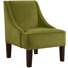 Velvet Nail Button Swoop Arm Chair