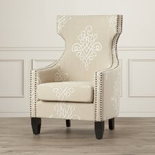 Aquamarine Embroidered Wingback Chair