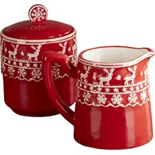 Deer Motif Sugar and Creamer Set