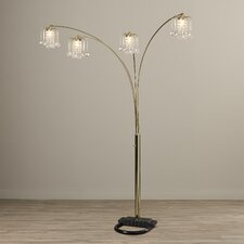 "Mason 84"" Arched Floor Lamp with Crystal-Like Shades"